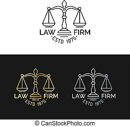 Law office logos set with scales of justice illustration. Vector vintage attorney,advocate labels,juridical firm badges.