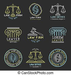 Law office logos set with scales of justice,gavel etc illustrations.