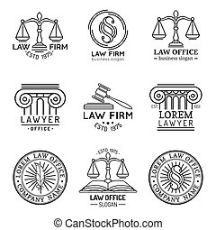 Law office logos set with scales of justice,gavel etc...