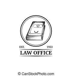 Law office symbol with code illustration. Vector attorney, advocate label, juridical firm badge. Act, legal icon design.