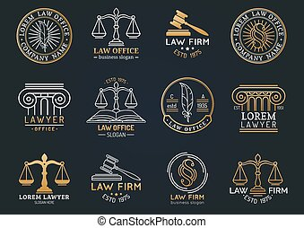 Law office symbols set with scales of justice, gavel etc illustrations. Vector attorney, advocate labels etc.