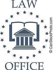 Law office vector icon of book, atrium and stars