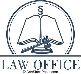 Law office vector legal icon of gavel and code