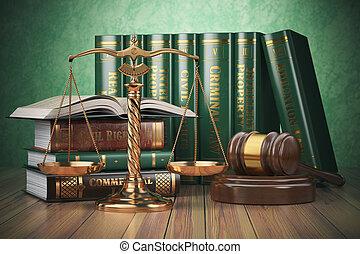 law., or, balances, justice, justice, concept., marteau, champ, livres, differents