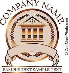 Law or Lawyer Seal - Gold With Colonnade