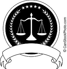 Law or Lawyer Seal With Banner is an illustration of a one color design for law, lawyers, or law firms that could be used as a logo or seal in striking reflective gold and black. Includes scale of justice, laurel, stars and a banner for your text.