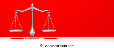 Scales balance on red wall background, copy space, banner. 3d illustration