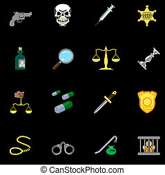a series of design elements or icons relating to law, order, police and crime.