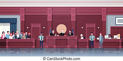 law process with judge jury suspect and police officers lawyer or attorney giving a speech court session modern courthouse courtroom interior full length horizontal vector illustration