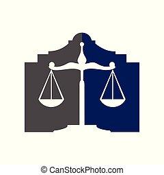 Law Scale Office Building Symbol Logo Design