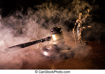 Law scales, dollars cash money, judge gavel, handcuff. Vintage old style sepia photo with fog