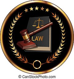 Law or Layer Seal is an illustration of a design for law, lawyers, or law firms that could be used as a logo or seal in striking reflective gold and black. Includes law book, gavel, laurel and gold stars.