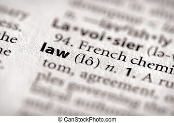 "Law - Selective focus on the word ""law"". Many more word ..."