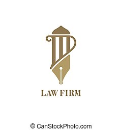 Law service logo with pillar and fountain pen. Vector illustration.
