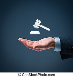 Lawyer (advocate, jurist) grant legal aid. Law represented by judicial gavel icon.