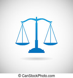 Law Symbol Justice Scales Icon Design Template on Grey...