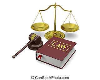 Law symbols - Gavel, scale and law book, isolated on white...