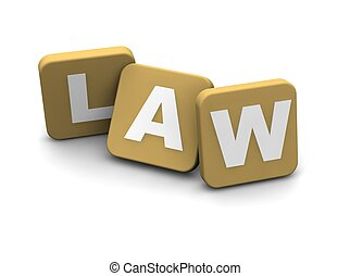 Law text. 3d rendered illustration isolated on white.