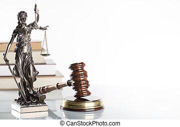 Law symbols isolated on white background.