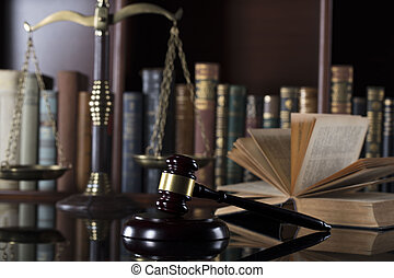 Legal office. Law firm. Gavel, scale and books.