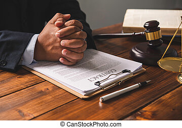 Law theme, mallet of the judge, law enforcement officers, evidence-based cases, and documents taken into account.