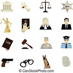 Law vector icon flat set
