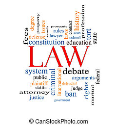 Law Word Cloud Concept with great terms such as defense,...