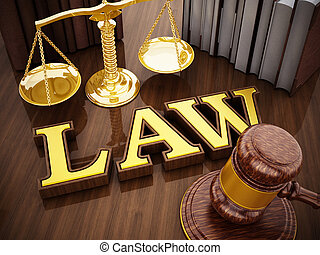 Law word, gavel and balanced scale on wooden table. 3D illustration