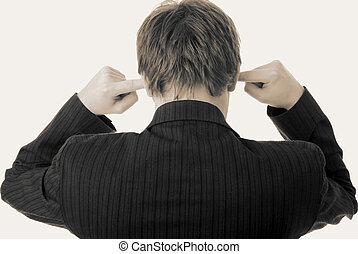 lawaai, in, oor, luisteren, vingers, zakenman