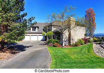 lawn., amerikai, modern, kedves, otthon