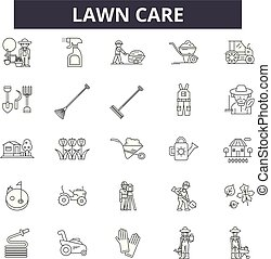 Lawn care line icons, signs set, vector. Lawn care outline concept, illustration: care, gardening, lawn, plant, nature, garden, design