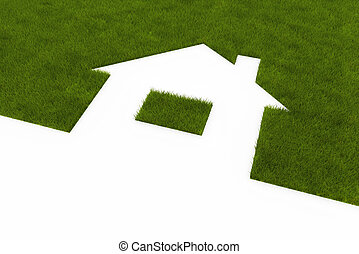 Lawn in the form of house