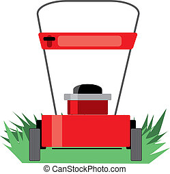A red lawn mower on some grass