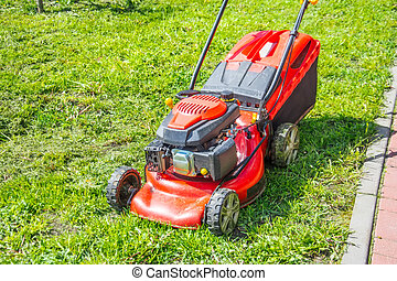 Lawn mower after working on the grass.