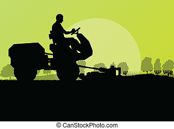 Lawn mower cutting grass vector background landscape