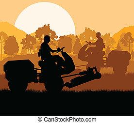 Lawn mower cutting grass vector background landscape
