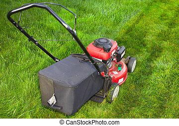 Lawn mower cutting green grass.