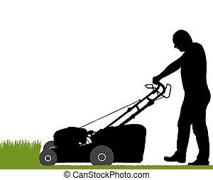 lawn-mower, homem