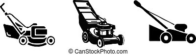 lawn mower icon on white background