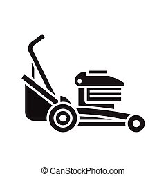 Lawn Mower Icon - Rotary lawn mower engine in outline...