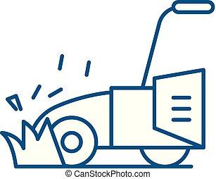 Lawn mower line icon concept. Lawn mower flat vector symbol...