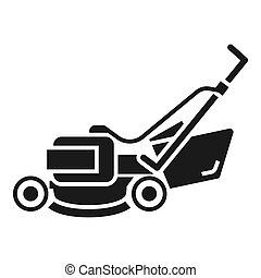 Lawn mower machine icon, simple style