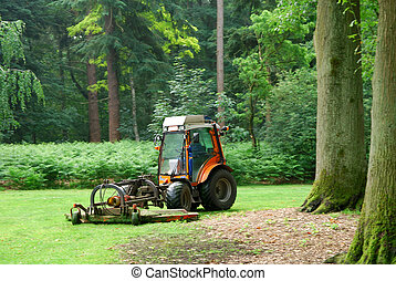 Lawn mower machine mowing the lawn in a formal garden....