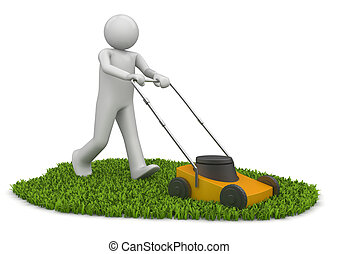 Lawn mower man - 3d characters isolated on white background...