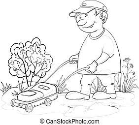 Lawn mower man, outline - Vector, lawn mower man work, mows...