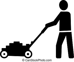 Lawn Mowing Silhouette