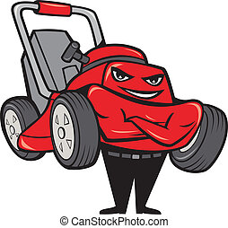 Lawn Mower Man Standing Arms Folded Cartoon - Illustration...