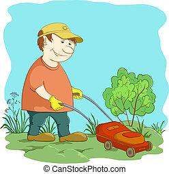 Lawn mower man - Vector, lawn mower man work, mows a green ...