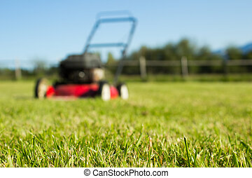 Lawn mower on grass - Red Lawn mower out of focus with...