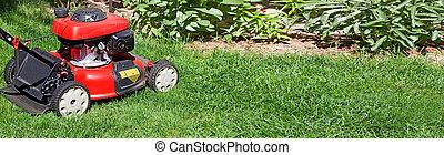 Lawn mower - Red lawn mower on green grass backyard